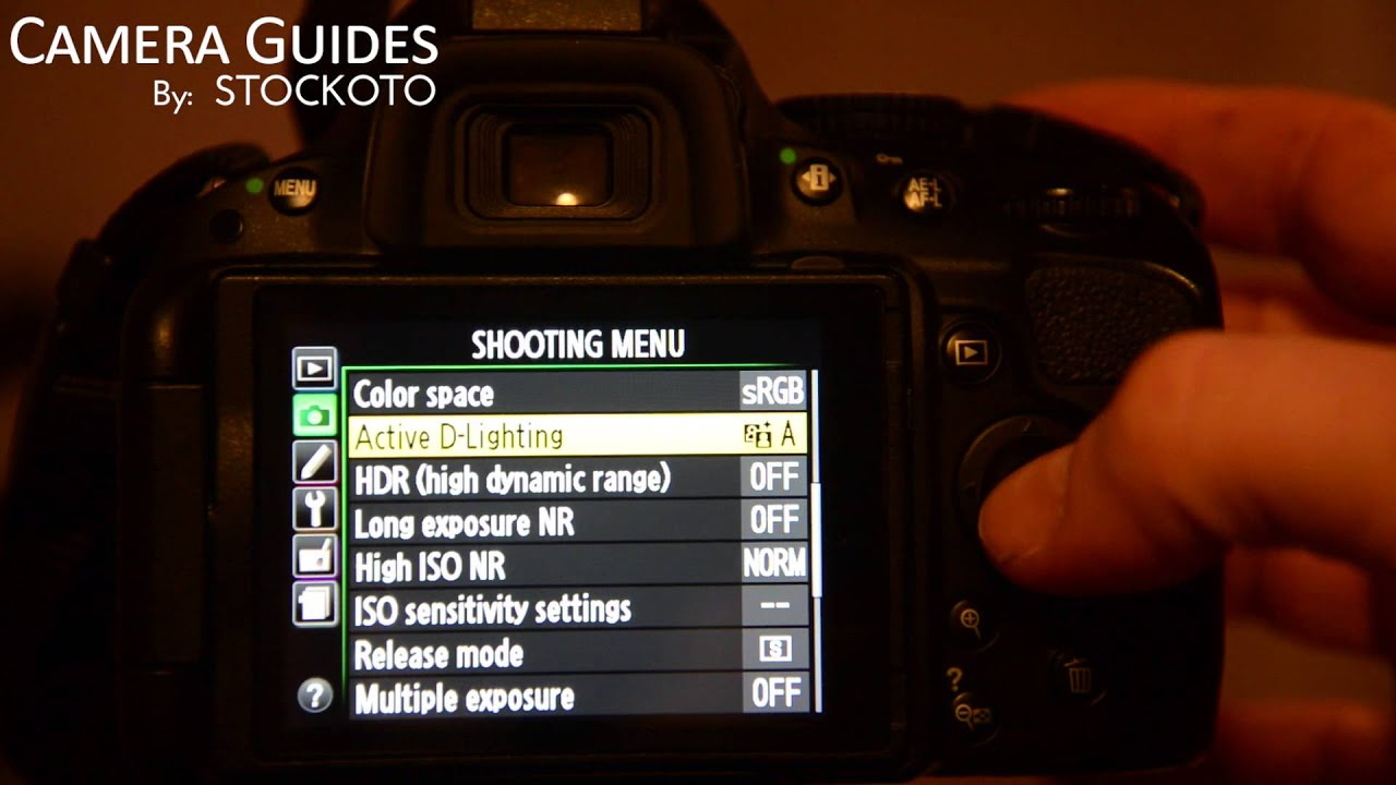 How to set Active D Lighting or Dynamic Range on a Nikon D5100  D5200 D5300 - YouTube & How to set Active D Lighting or Dynamic Range on a Nikon D5100 ... azcodes.com