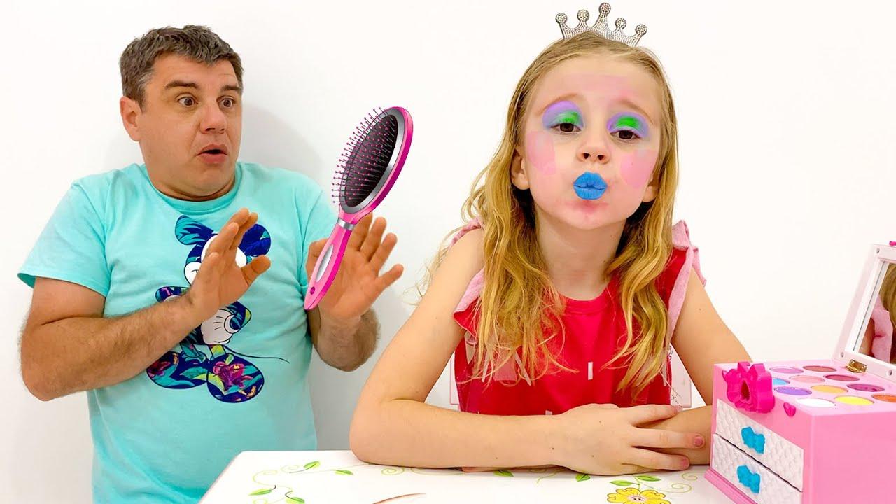 Nastya and Dad do dress up and make up at home
