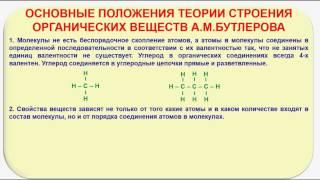 № 3. Органическая химия. Тема 2. Строение органических веществ. Часть 1. Теория А.М. Бутлерова