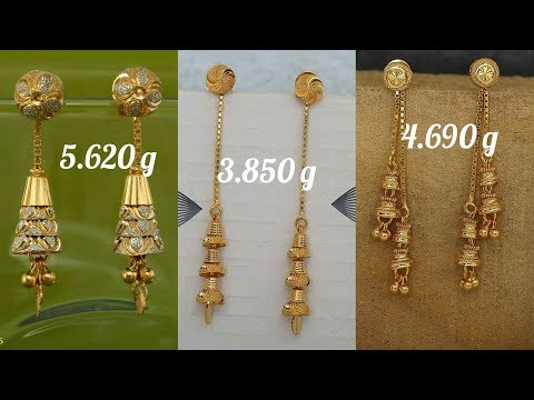 Latest Light Weight Gold Earring Designs with Weight