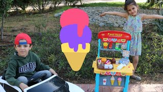 متجر ايسكريم | ice cream shop |  sewar Pretend Play with ICE CREAM Drive Thru Toy Store | outdoor