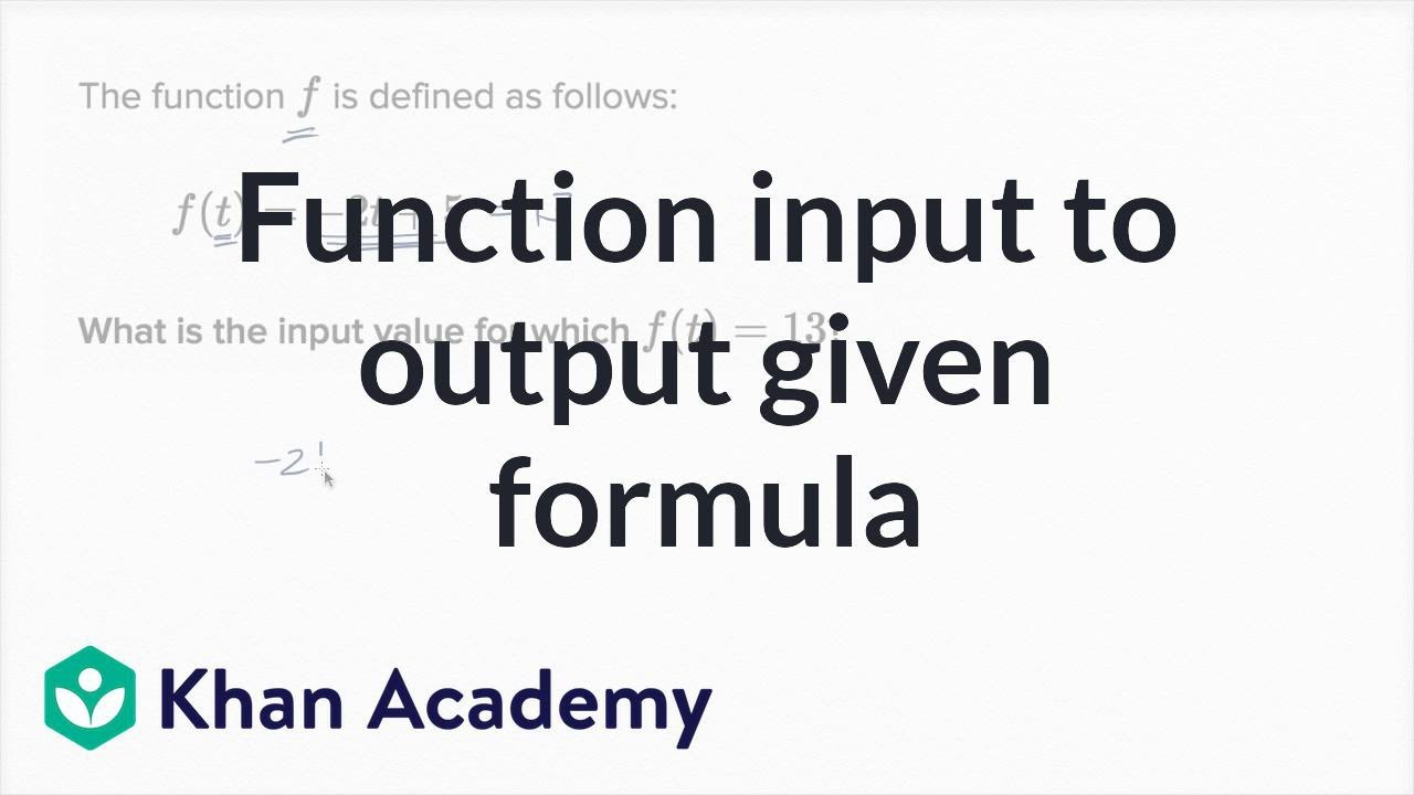 what is input output for a function