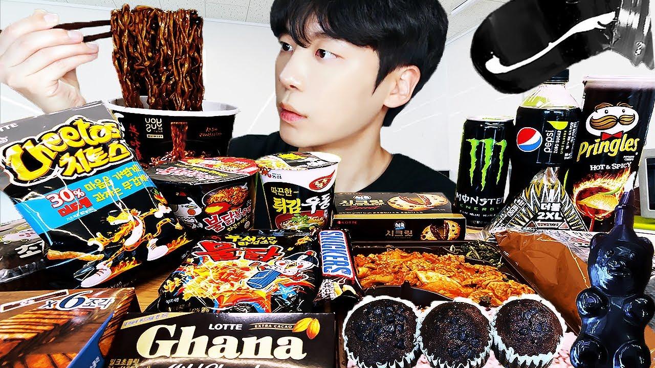 ASMR MUKBANG | 편의점 꿀젤리 블랙 디저트 먹방 불닭 짜장 초콜릿 & BLACK DESSERT HONEY JELLY CANDY
