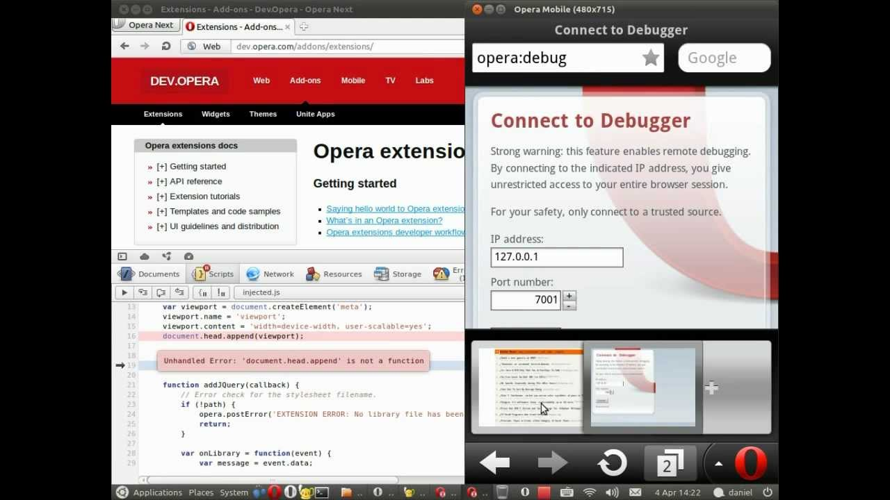 Opera Mobile Extensions (2): Remote debugging with Opera Dragonfly