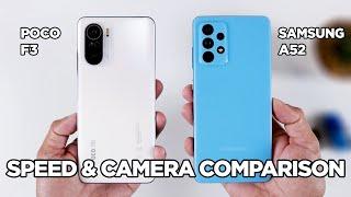 POCO F3 vs Samsung A52 SPEED TEST \u0026 CAMERA Comparison | Zeibiz