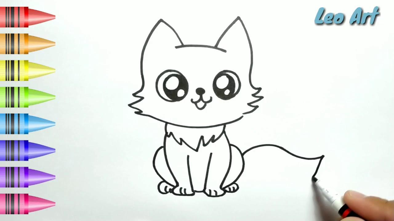 Hebat Cara Menggambar Dan Mewarnai Kucing Lucu Dengan Mudah Untuk Anak Indonesia Youtube