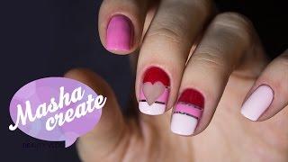 Маникюр с лентой для ногтей. Дизайн ногтей на День Валентина