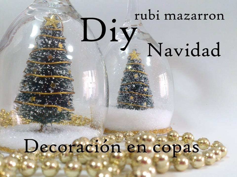 Diy copas decoradas de navidad dedicada a gema youtube for Adornos navidenos con copas y velas