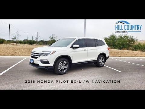 2018 Honda Pilot EX-L /W Navigation in White Diamond Pearl at Hill Country Honda by Zachery Hockaday