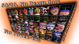 🐻🐰🐥🦊 UCN 50/20 No Death Coin Complete, 10% Power Remaining, No Power-ups, FNaF Ultimate Custom Night