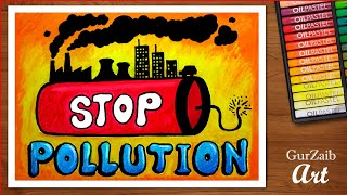 how to draw stop pollution poster chart for school students - step by step