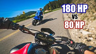 MT07 SLAYING backroads with the BIG Boy Bikes! (S1000RR, VMAX, GSXR, CBR600RR, and MT07)
