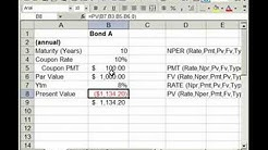 Bond Pricing, Valuation, Formulas, and Functions in Excel