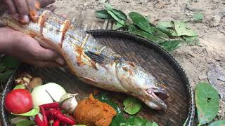 Survival Technique Cooking Snake HeadFish Recipe - Catch Fish Cook in Forest eating delicious