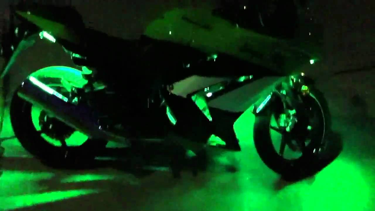 09 ninja 250r green underglow youtube - Underglow neon ...