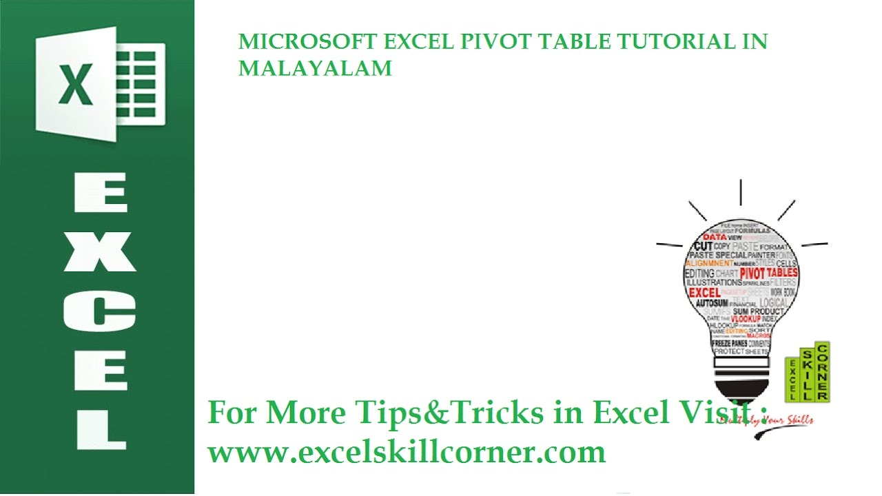 microsoft excel pivot table tutorial in malayalam hd youtube