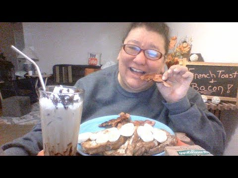 Mukbang 120... French toast , fried bacon and iced coffee