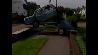 Classic Car Austin Cambridge Breaks in Half - video 2 of 2