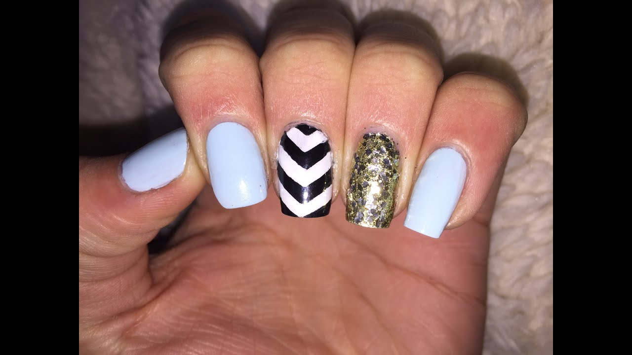 Cute nail art tutorial (black and white chevron) - YouTube