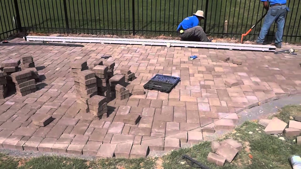Belgard Cambridge Cobble Paver Patio With Fire Pit And Seating Wall