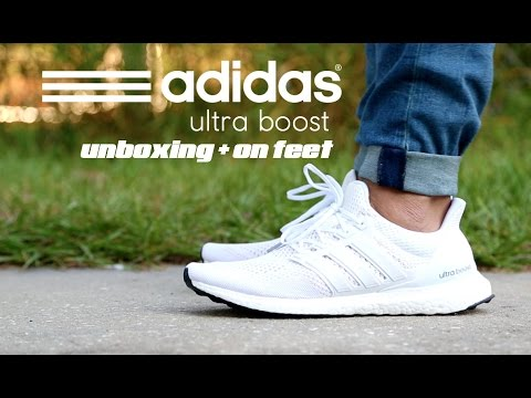 b00e11e47676c Adidas Ultra Boost White Unboxing + On Feet - YouTube