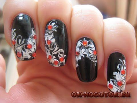 Рисунки на ногтях иголкой.фото
