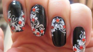 Черно-белый рисунок на ногтях иголкой(Подробные пошаговые видео уроки по выполнению уникальных рисунков на ногтях. Уроки по дизайну ногтей разли..., 2015-10-28T06:37:23.000Z)