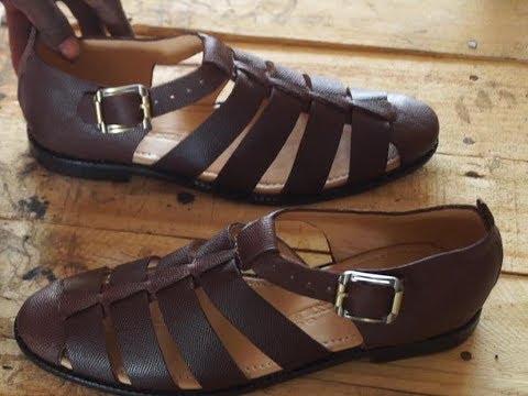 d2e7e454b classic leather sandal making - YouTube