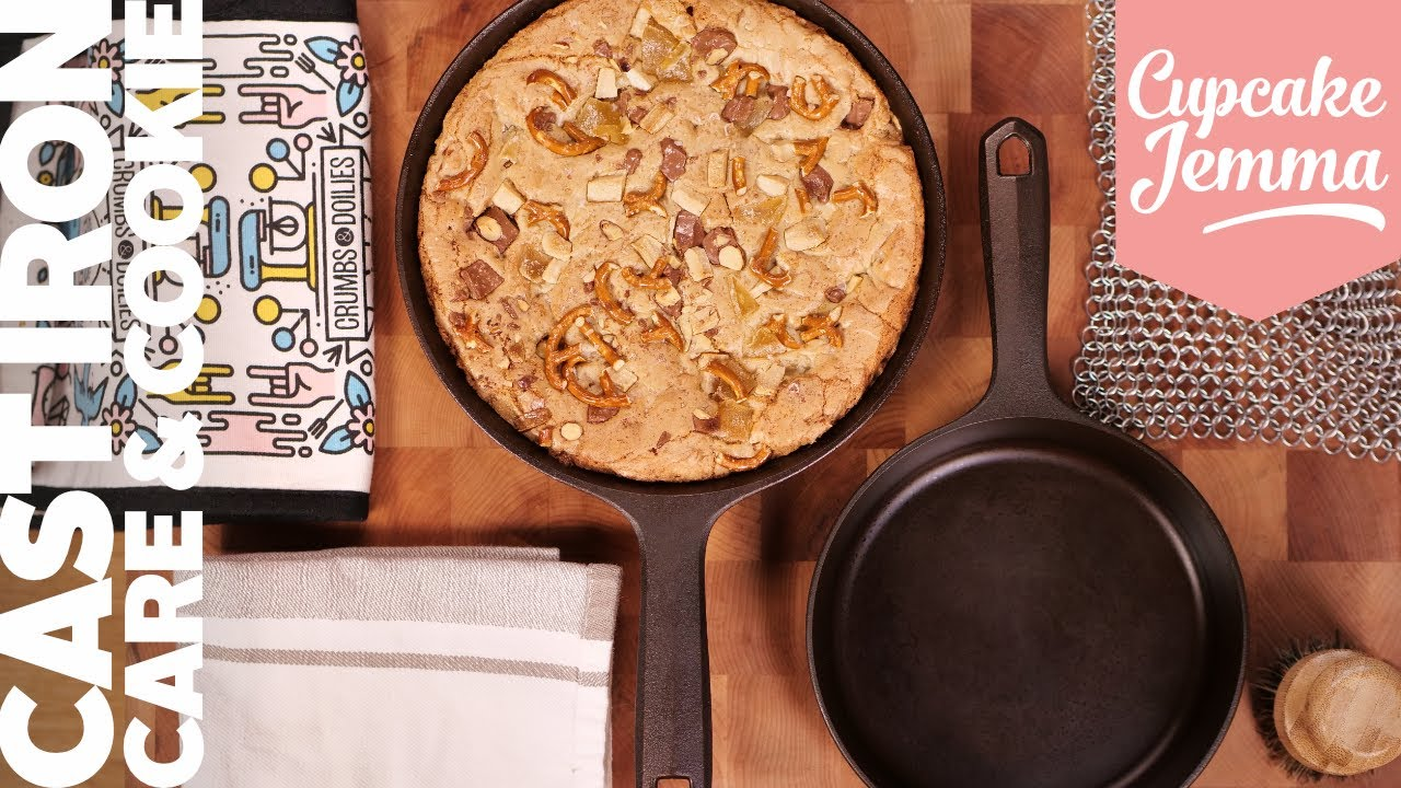 How to Season and look after a Cast Iron pan PLUS Skillet Cookie Recipe!   Cupcake Jemma Channel