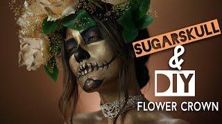 Metallic Sugar Skull Makeup Tutorial & DIY Flower Crown | Melissa Alatorre