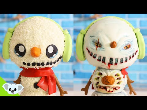 CHRISTMAS SNOWMAN CAKE | Cute and Scary Christmas 2 Faced Ideas| Amazing Cakes | Koalipops