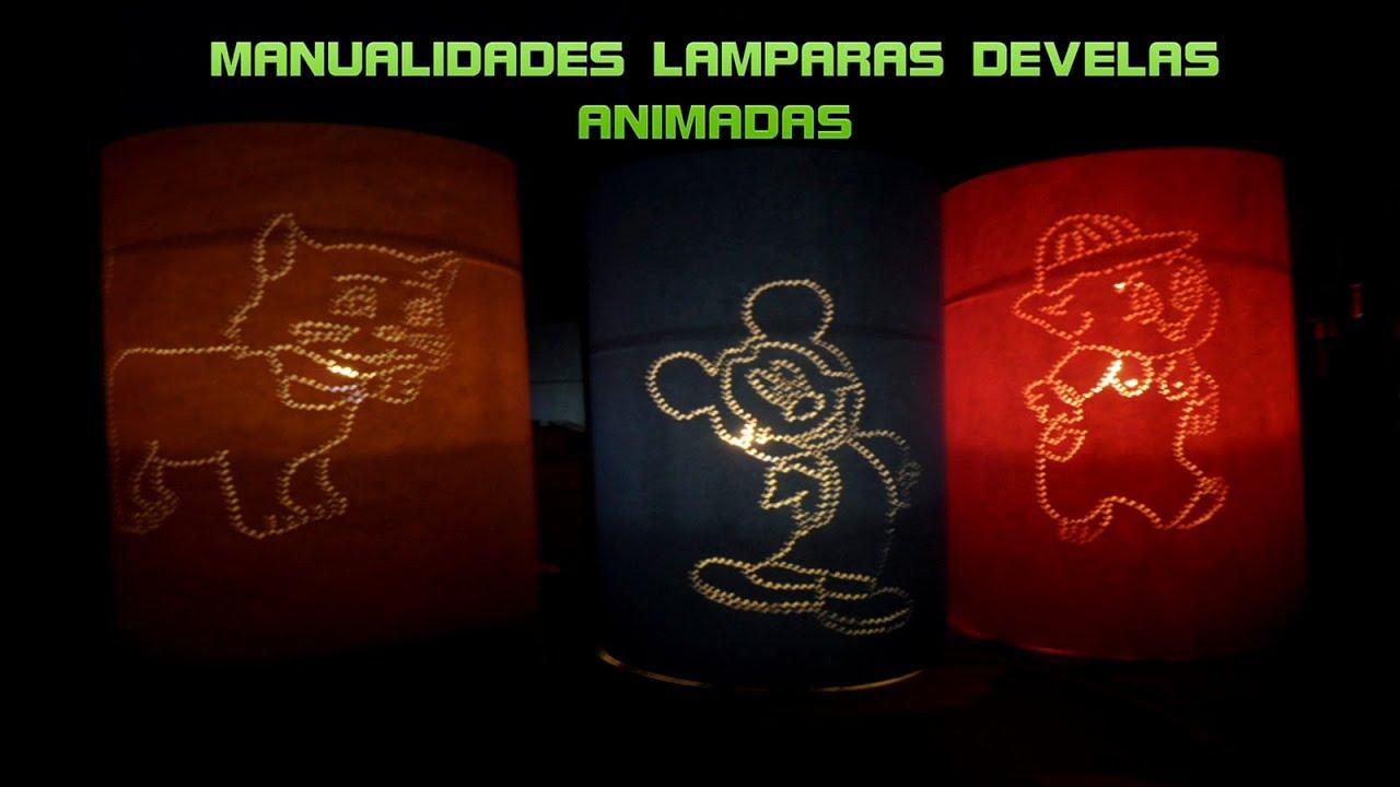 MANUALIDADES LAMPARAS DE VELA CON DISEÑOS ANIMADOS