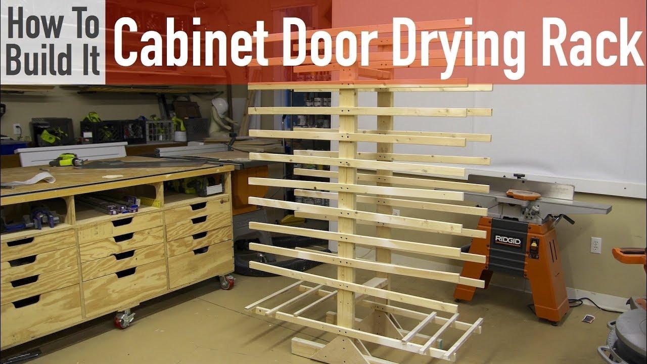 how to build a cabinet door drying rack