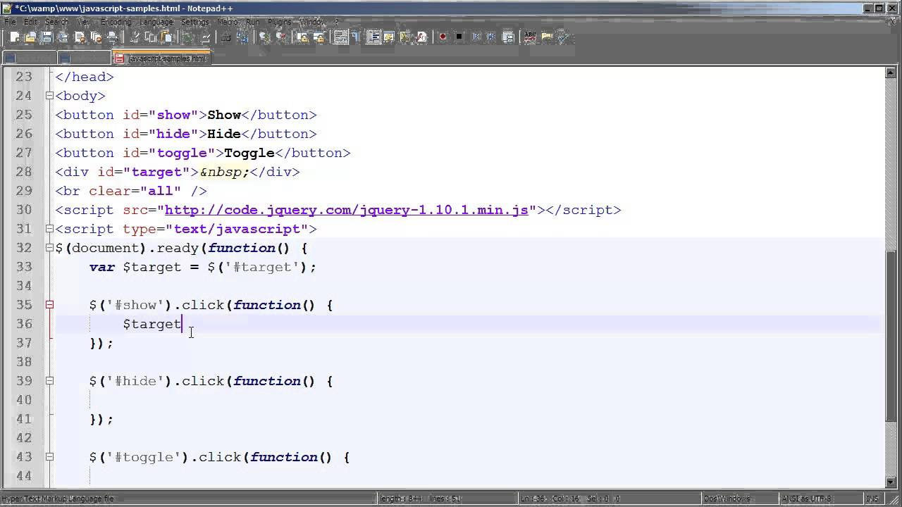Hide and Show HTML Elements with jQuery - YouTube