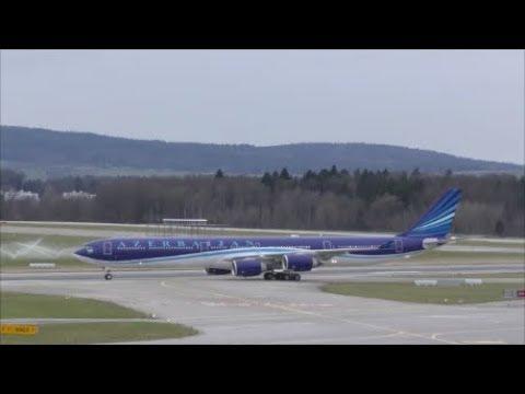 (WEF 2018) Azerbaijan Airbus A340 at Zürich-Kloten with live ATC