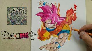 COMO DIBUJAR A GOKU DIOS ROJO - DRAGON BALL SUPER / how to draw goku red god - dragon ball super