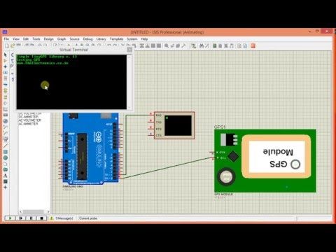 Arduino GPS module simulation in proteus - YouTube