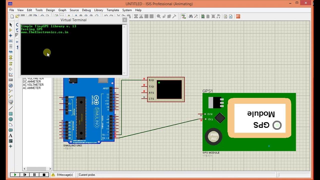 Arduino GPS module simulation in proteus