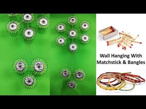 wall-hanging-craft-ideas-|-matchstick-craft-ideas-|-with-old-bangles