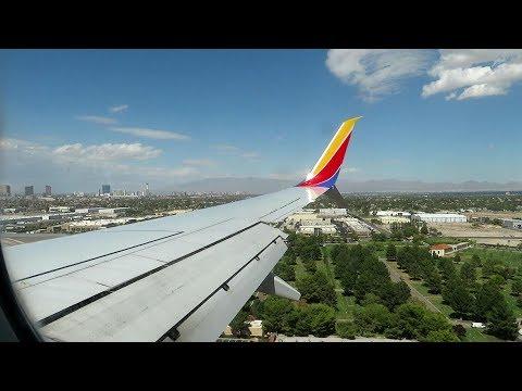 Fun Windy Landing Las Vegas McCarran Southwest Airlines 737-800 Landing, taxi to gate runway 25L