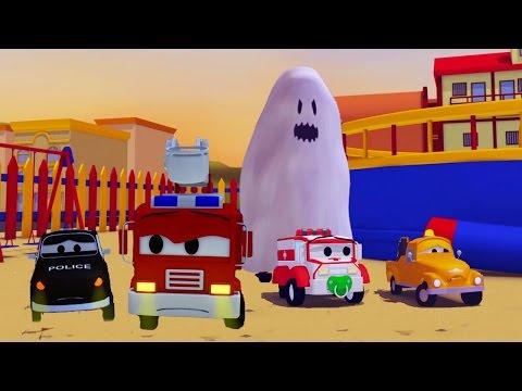La Super Patrulla: camión de bomberos y patrulla de policía, y el Fantasma en Auto City | HALLOWEEN