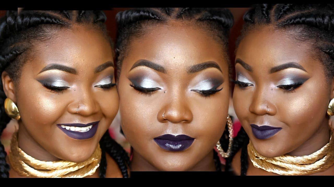 Grwm silver smokey eyes dark lips makeup tutorial youtube baditri Choice Image