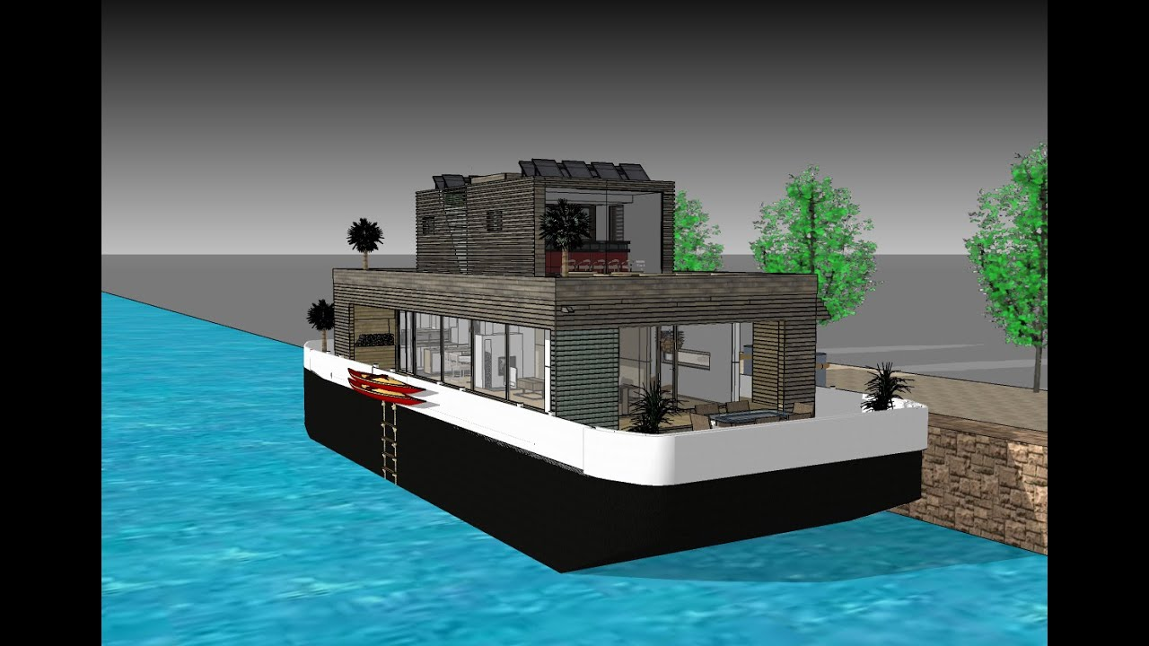 The Blob on floating Eco-Barge - Contempoary Houseboat with Scandinavien interior design ...