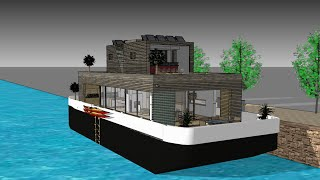 The Blob On Floating  Eco-barge  - Contempoary Houseboat With Scandinavien Interior Design Amsterdam