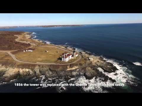 Beautiful Jamestown, RI Beavertail light via Drone