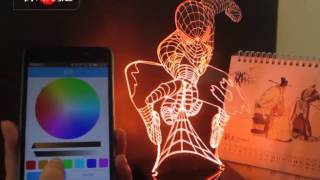 3D Table LED Lights Lamps APP Controlled demonstration with BLUETOOTH SPEAKER news novelty