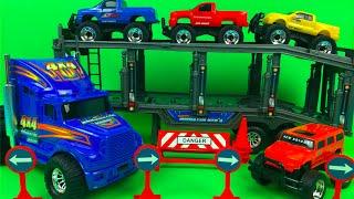 New Bright Semi Hauler with 4 free wheeling vehicles Big truck toys tracktor trailer construction