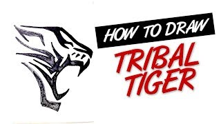 How to draw tiger tribal tattoo design