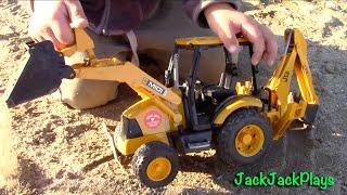 Bruder Backhoe - Toy Truck Videos for Children - Bruder JCB Backhoe Loader Excavator UNBOXING + Play