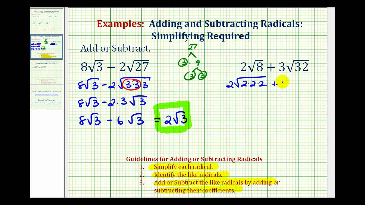 math worksheet : ex add and subtract square roots  youtube : Adding And Subtracting Square Roots